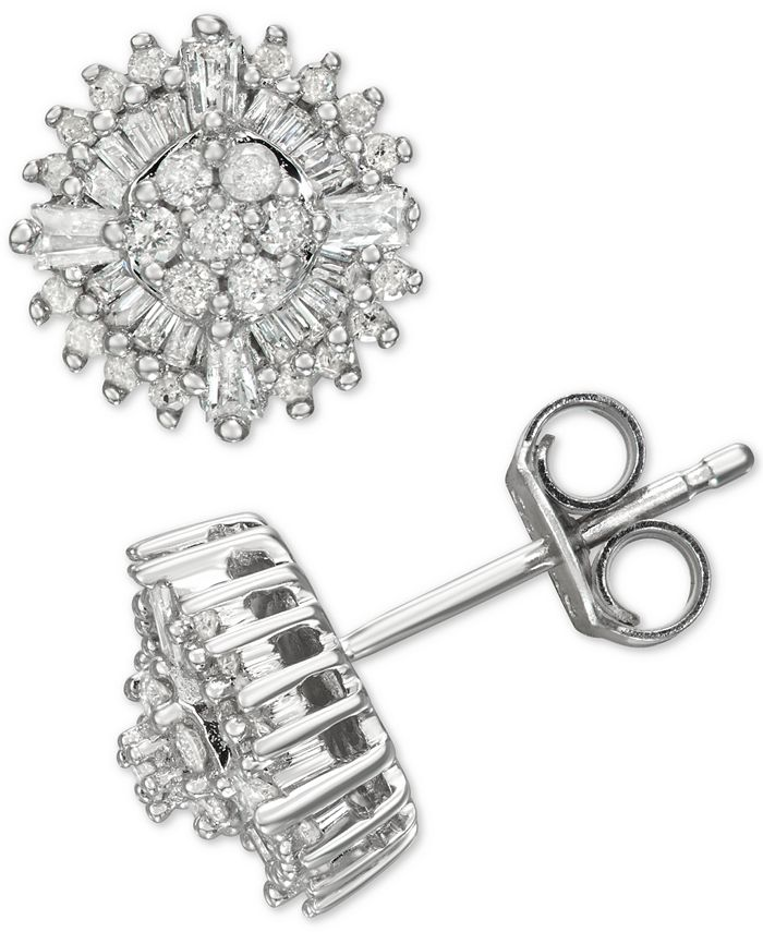 Macy's - Diamond Burst Stud Earrings (1/2 ct. t.w.) in Sterling Silver