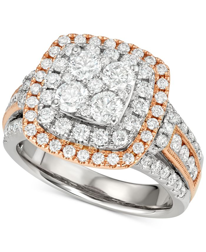 Macy's - Diamond Halo Cluster Engagement Ring (2 ct. t.w.) in 14k White and Rose Gold