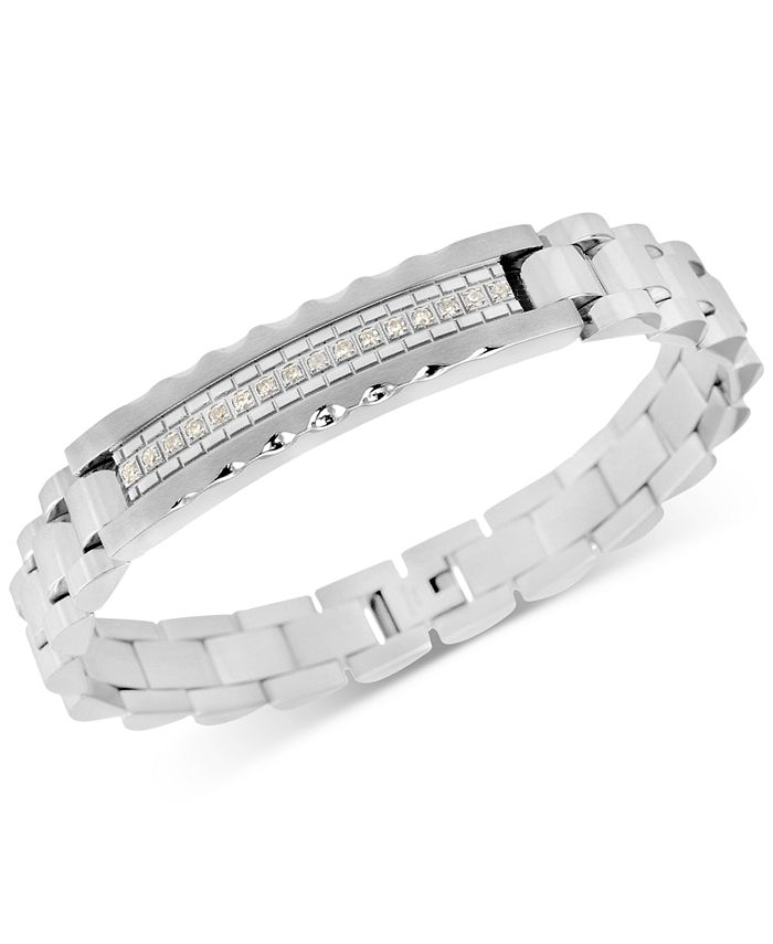 Macy's - Men's Diamond (1/5 ct. t.w.) Tire Tread Bracelet in Stainless Steel