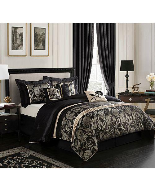 Nanshing Mollybee 7 Piece Comforter Set, Black, California King