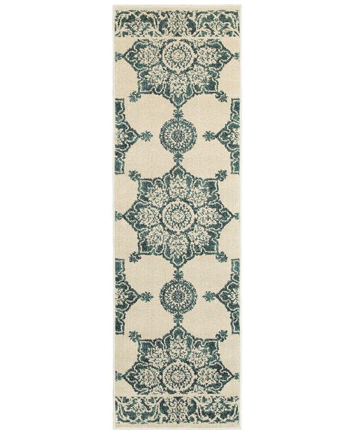 "Oriental Weavers - Jayden 7416A Ivory/Blue 2'3"" x 7'6"" Runner Area Rug"