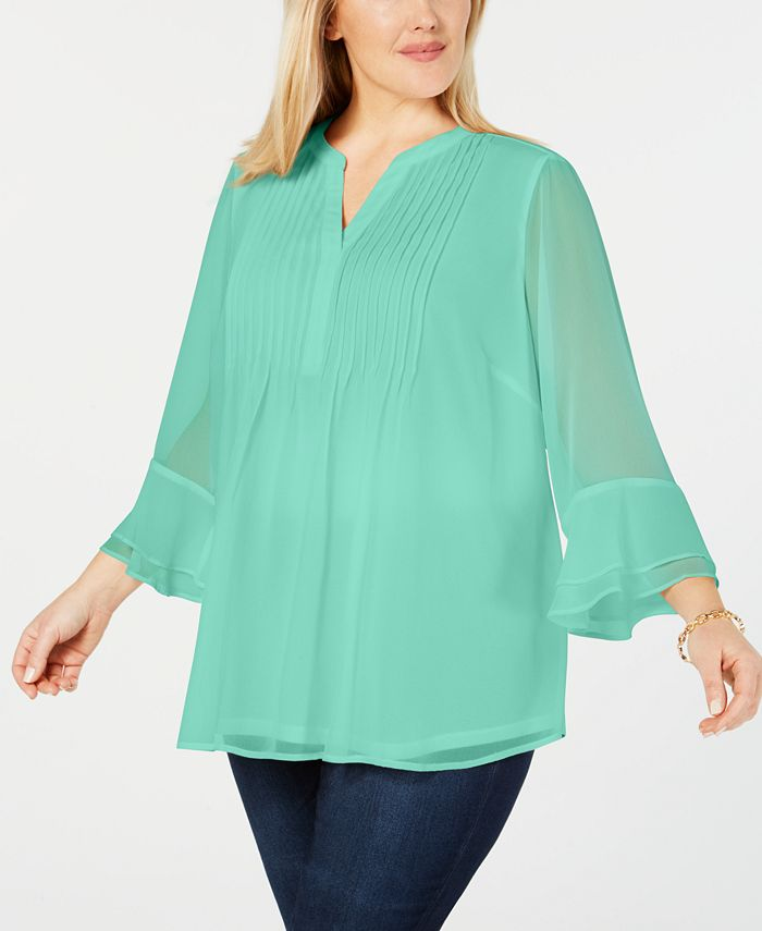 Charter Club - Plus Size Pintucked Tunic