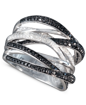 Caviar by Effy Collection 14k White Gold Ring, Black and White Diamond Ring (3/4 ct. t.w.)
