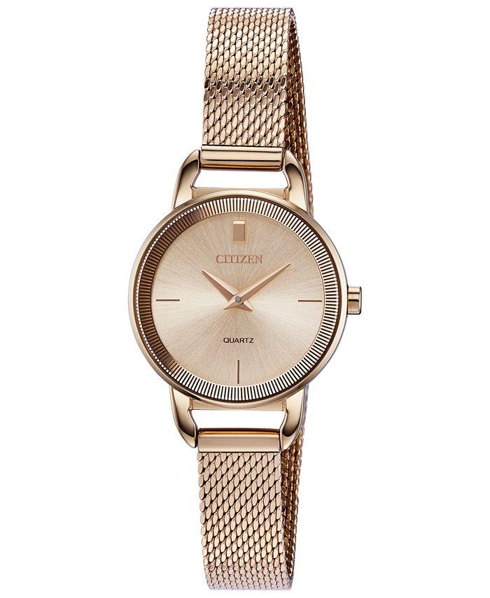 Citizen - Women's Quartz Rose Gold-Tone Stainless Steel Mesh Bracelet Watch 26mm