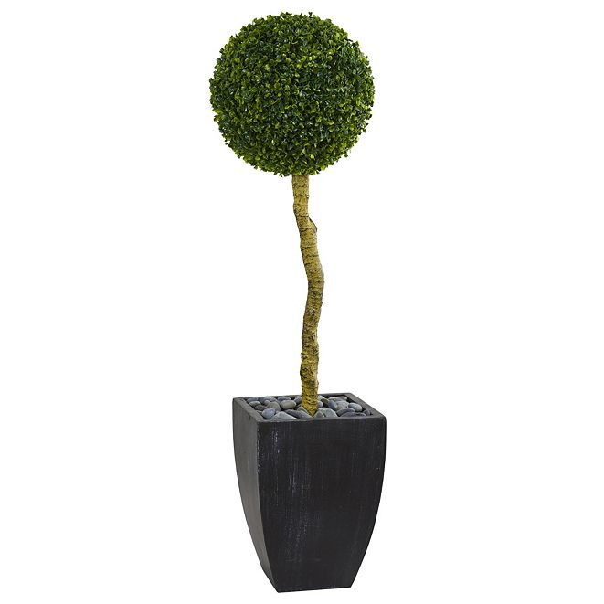 Nearly Natural 4' Boxwood Ball Topiary Artificial Tree in Black Wash Planter UV Resistant