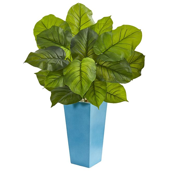 Nearly Natural 3' Large Leaf Philodendron Artificial Plant in Turquoise Planter - Real Touch