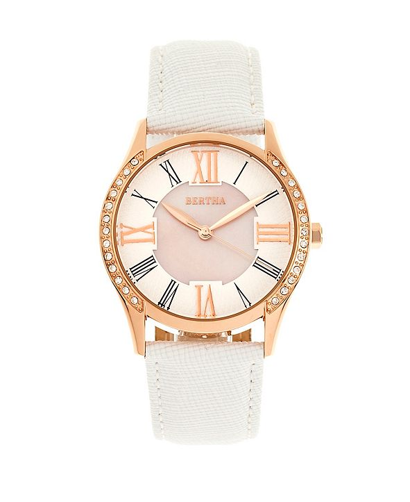 Bertha Quartz Sadie White Genuine Leather Watch, 36mm