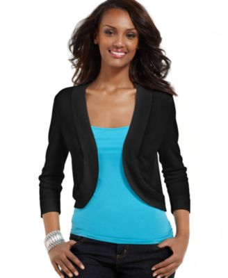 Image of Jessica Howard Three-Quarter-Sleeve Open-Front Cardigan