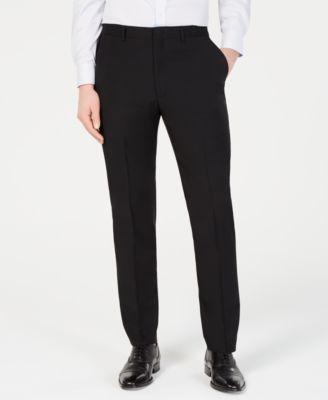 Men's Modern-Fit Stretch Black Solid Suit Pants