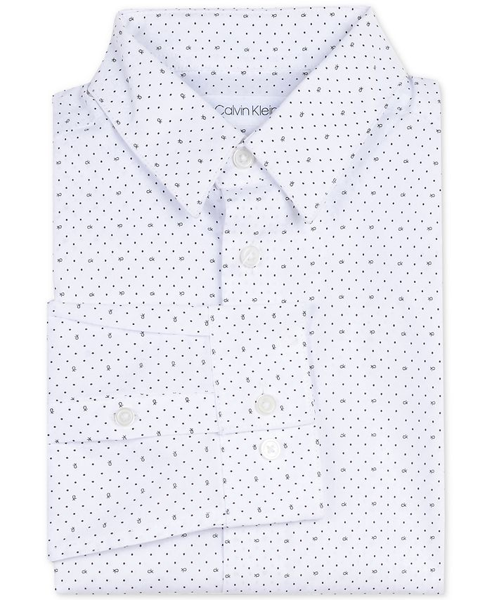 Calvin Klein - Big Boys Slim-Fit Stretch Logo Dot-Print Dress Shirt