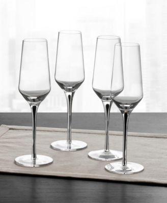 Black Stem Champagne Glasses, Set of 4, Created for Macy's