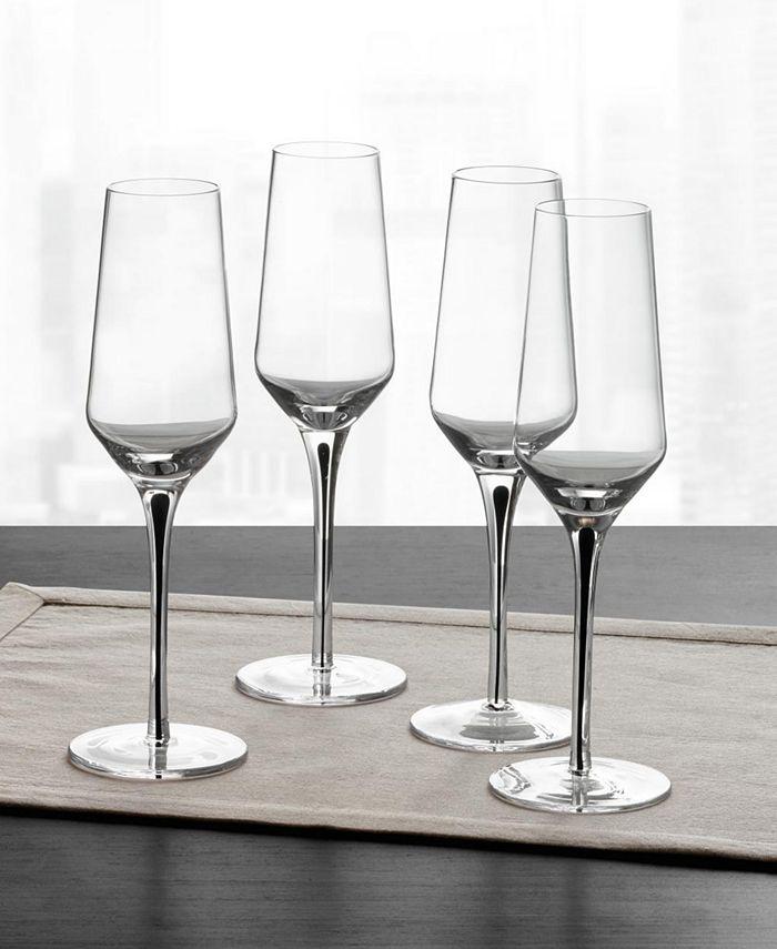 Hotel Collection - Black Stem Champagne Glasses, Set of 4
