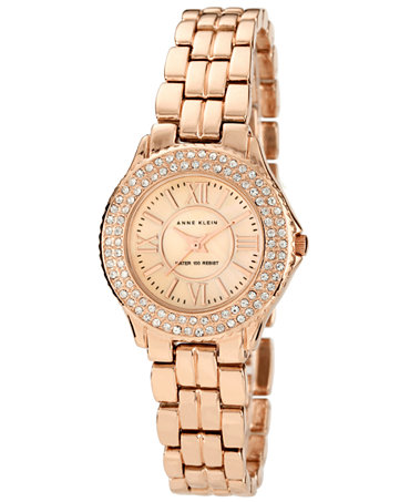 Anne klein watch women 39 s rose gold tone adjustable bracelet 28mm 10 9536rmrg watches for Anne klein rose gold watch set