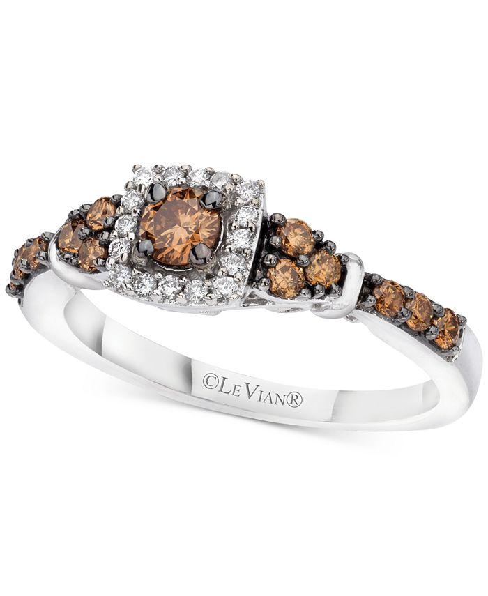 Le Vian - ® Chocolate & Vanilla Diamond Ring (1/2 ct. t.w.) in 14k White Gold