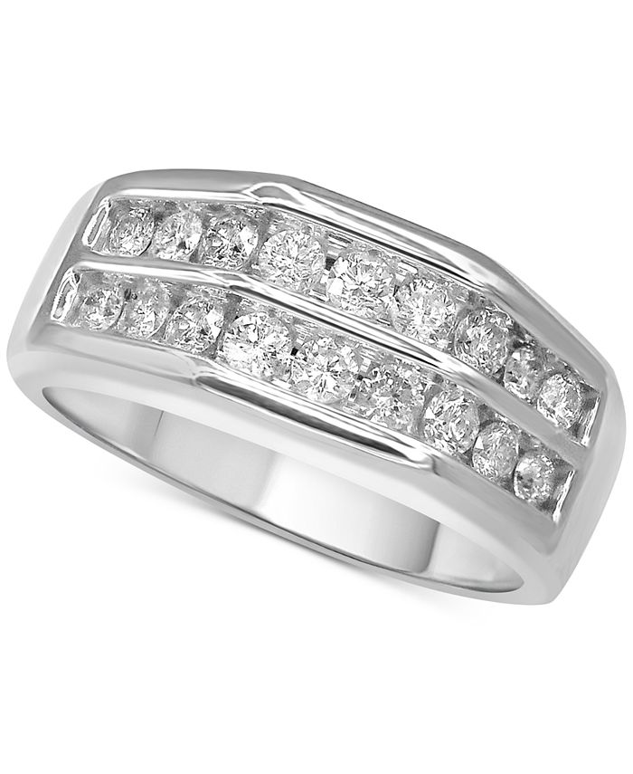 Macy's - Men's Diamond Double Row Ring (1 ct. t.w.) in 10k White Gold or 10k Yellow Gold