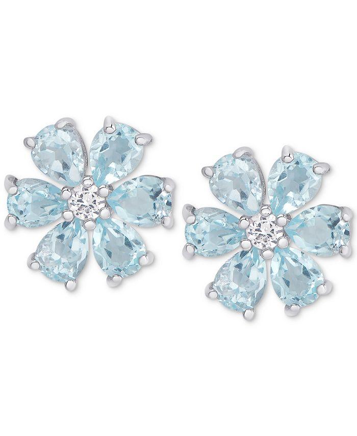 Macy's - Blue Topaz (2-3/8 ct. t.w.) & White Topaz Accent Flower Stud Earrings in Sterling Silver
