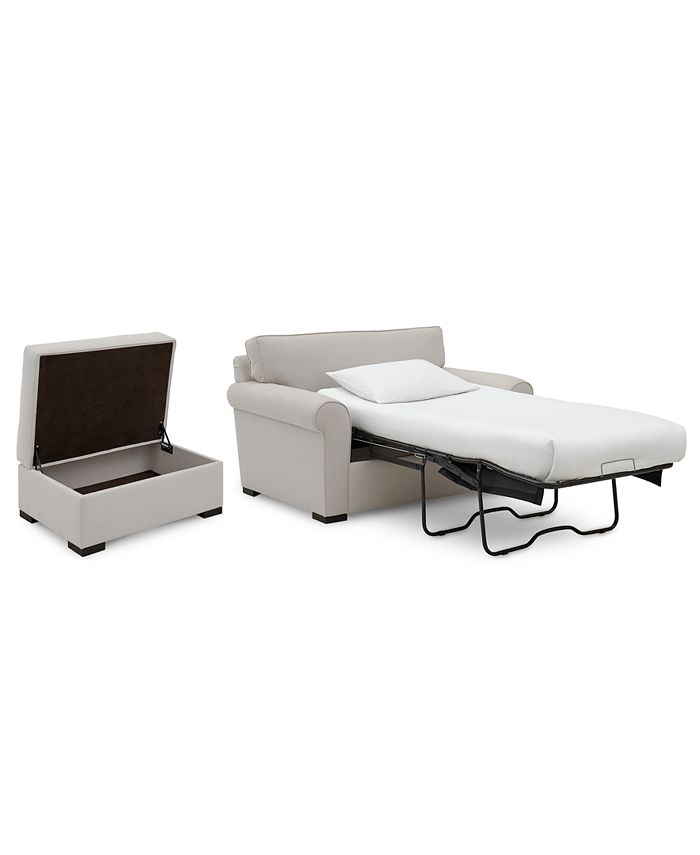 """Furniture - Astra 59"""" Fabric Chair Bed & 36"""" Fabric Storage Ottoman Set"""