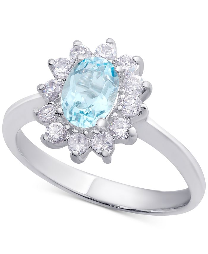 Macy's - Blue Topaz (1 ct. t.w.) & Cubic Zirconia Ring in Sterling Silver (Also Available in Sapphire & Peridot)