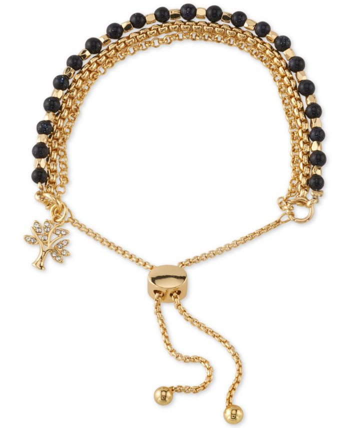 Unwritten Blue Stone Crystal Tree Bolo Bracelet in Gold-Tone Plated and Silver Plated & Reviews - Bracelets - Jewelry & Watches - Macy's