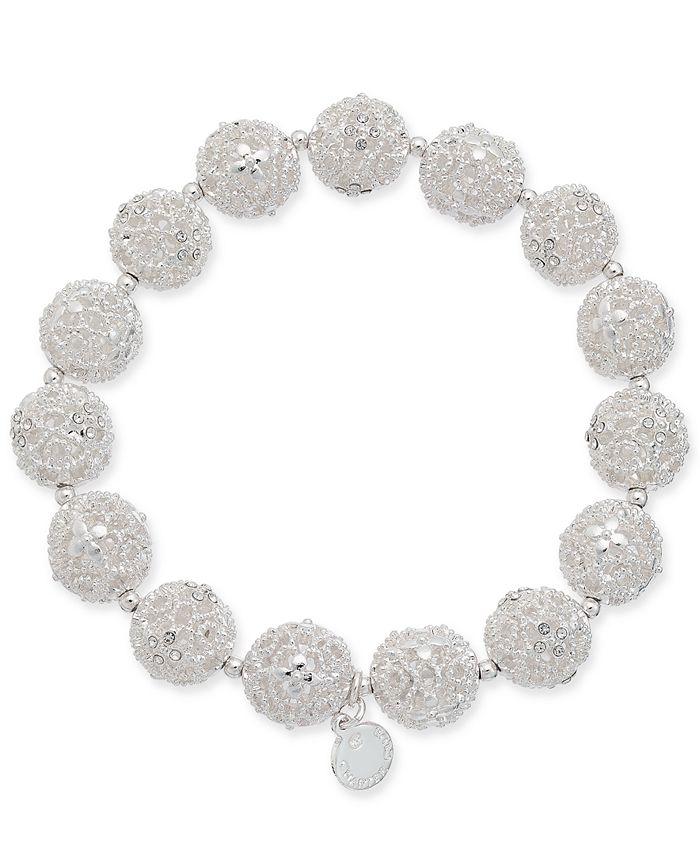 Charter Club - Silver-Tone Filigree Ball Stretch Bracelet