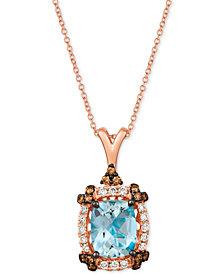 "Le Vian® Sea Blue Aquamarine (2-1/5 ct. t.w.) & Diamond (1/2 ct. t.w.) 20"" Pendant Necklace in 14k Rose Gold"