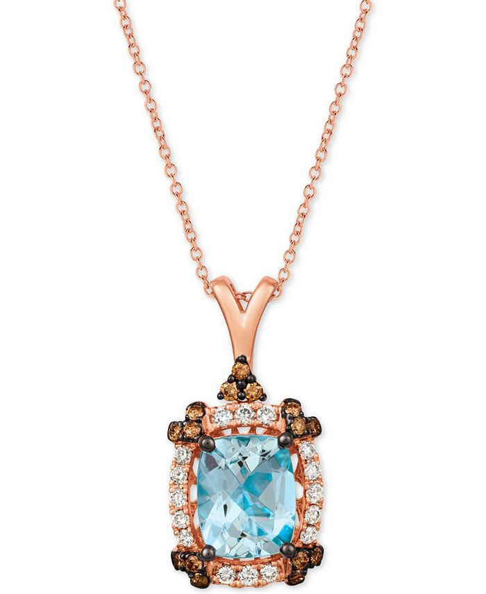 "Le Vian - Sea Blue Aquamarine (2-1/5 ct. t.w.) & Diamond (1/2 ct. t.w.) 20"" Pendant Necklace in 14k Rose Gold"