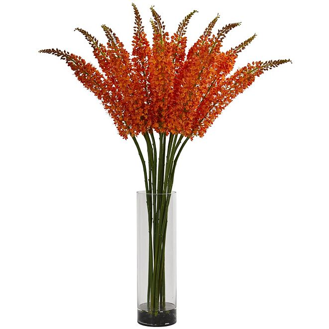 Nearly Natural Fox Tail Artificial Arrangement in Glass Cylinder Vase