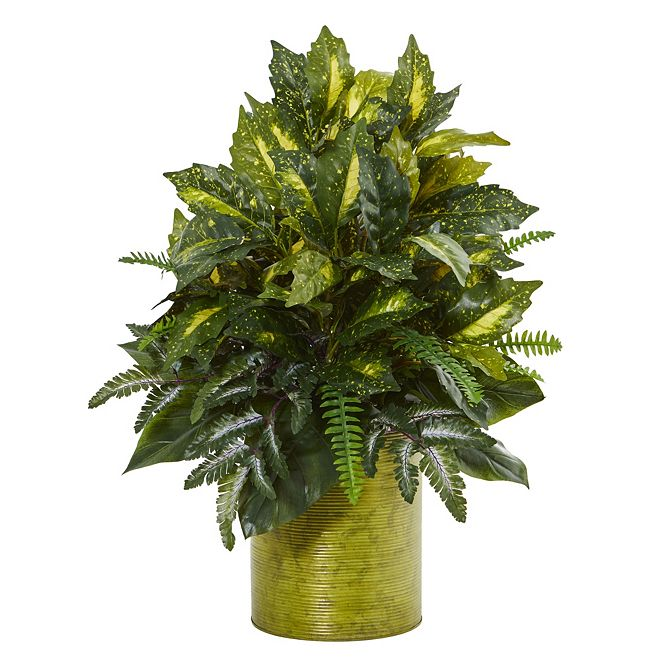 """Nearly Natural 28"""" Mixed Greens Artificial Plant in Green Tin Planter"""