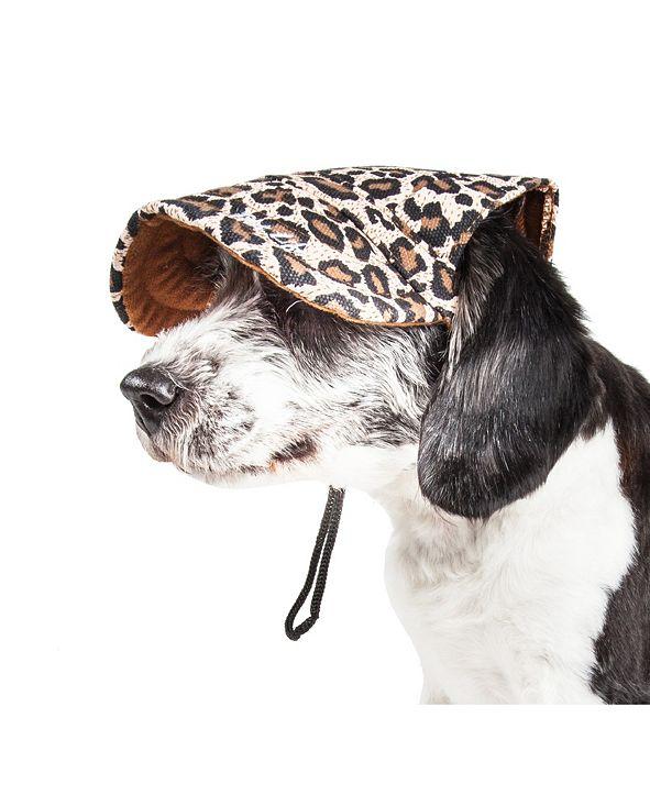 Pet Life Central Pet Life 'Cheetah Bonita' Cheetah Patterned UV Protectant Adjustable Dog Hat Cap