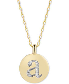 "CHARMBAR™ Swarovski Zirconia Initial Reversible Charm Pendant Necklace in 14k Gold-Plated Sterling Silver, Adjustable 16""-20"""