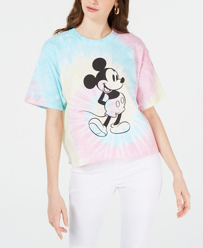 Disney - Juniors' Cotton Mickey Mouse Tie-Dyed T-Shirt