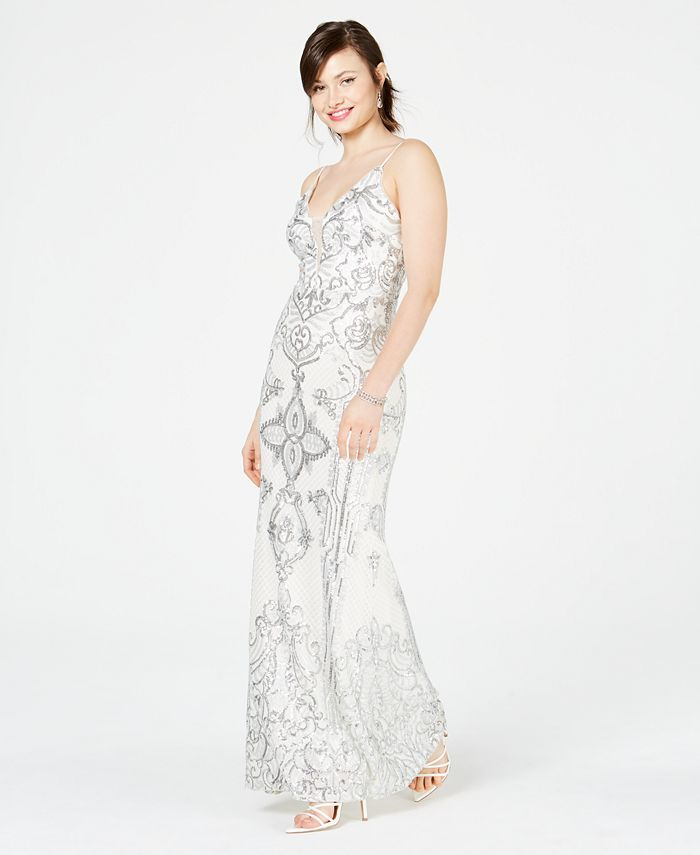 Betsy & Adam - Embellished Illusion-Inset Gown
