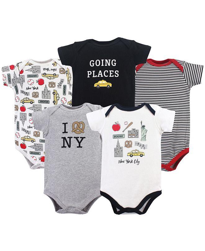 Hudson Baby Baby Girl Cotton Bodysuit, 5-Pack