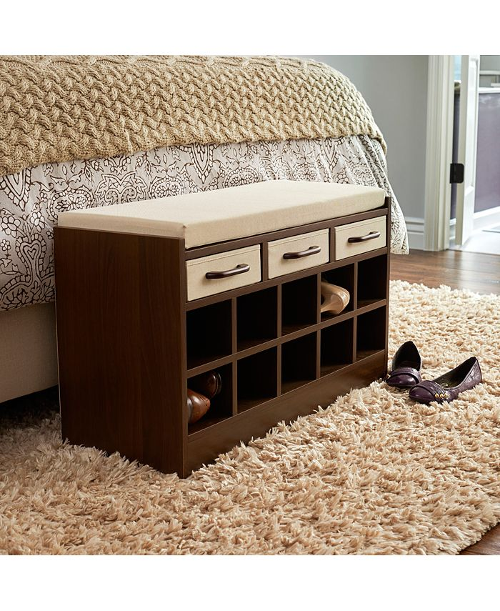 Household Essentials - Entryway Storage Bench Seat with Shoe Cubbies