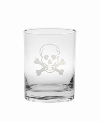 Skull and Cross Bones Double Old Fashioned 14Oz - Set Of 4 Glasses