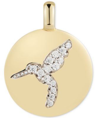 """Swarovski Zirconia Hummingbird """"Never Give Up"""" Reversible Charm Pendant in 14k Gold-Plated Sterling Silver"""