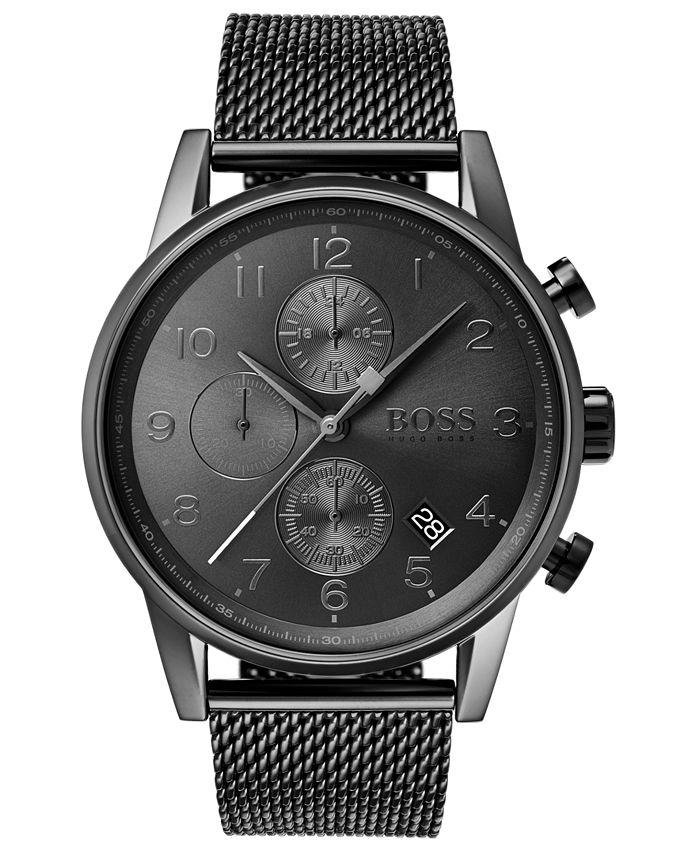 BOSS - Men's Chronograph Navigator Gray Stainless Steel Mesh Bracelet Watch 44mm