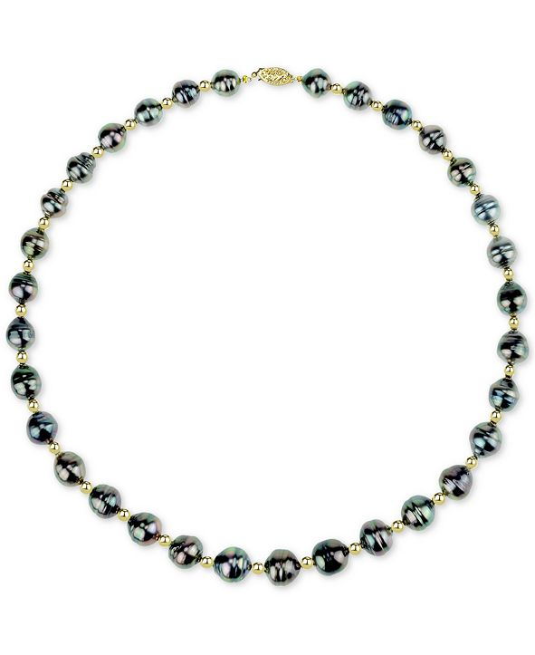 """Macy's Cultured Baroque Tahitian Pearl (8-10mm) & Bead 18"""" Collar Necklace in 14k Gold"""