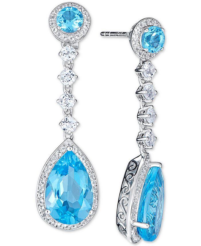 Macy's - Blue Topaz (11-1/5 ct. t.w.) & White Topaz (1/5 ct. t.w.) Drop Earrings in Sterling Silver