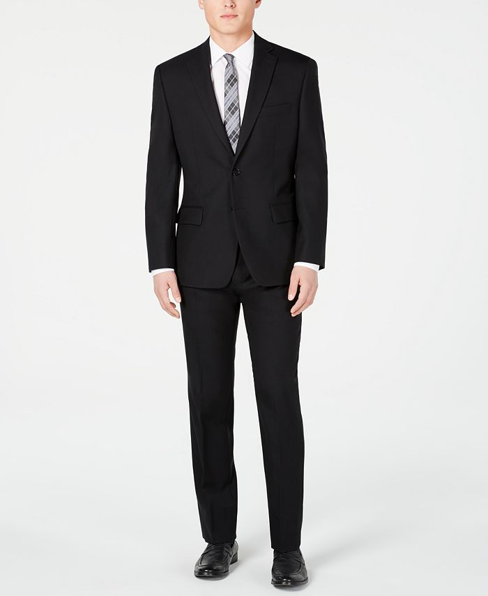 Michael Kors - Men's Classic/Regular Fit Black Solid Suit