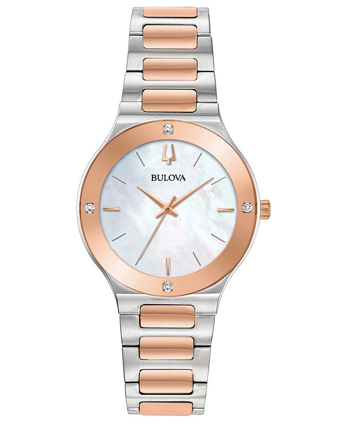 Bulova - Women's Modern Diamond-Accent Two-Tone Stainless Steel Bracelet Watch 32mm