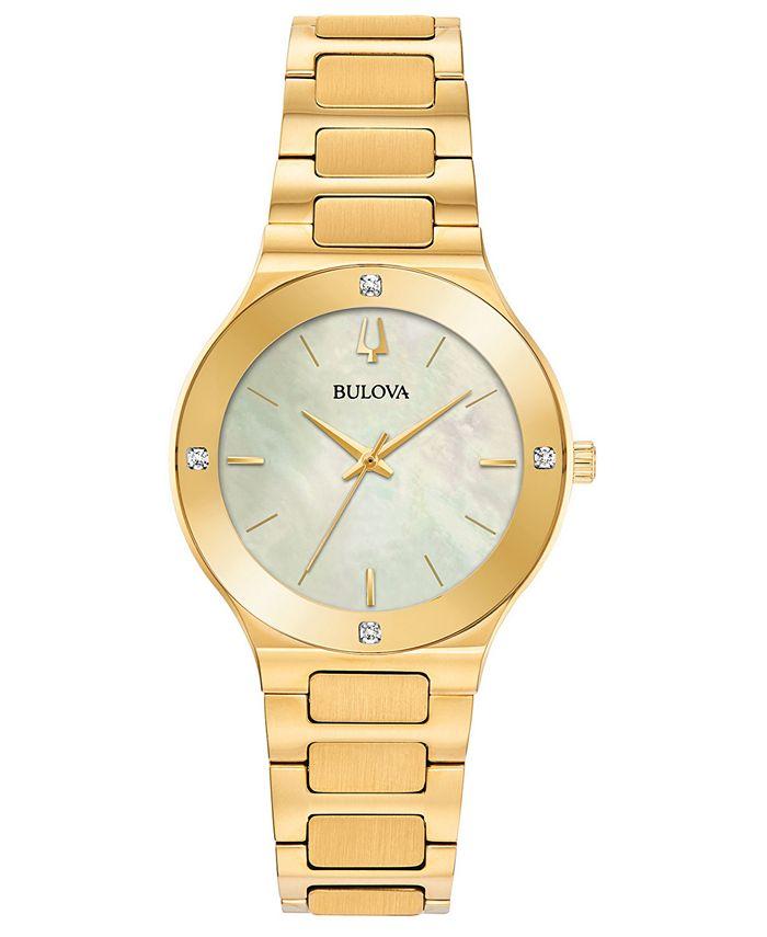 Bulova - Women's Modern Diamond-Accent Gold-Tone Stainless Steel Bracelet Watch 32mm