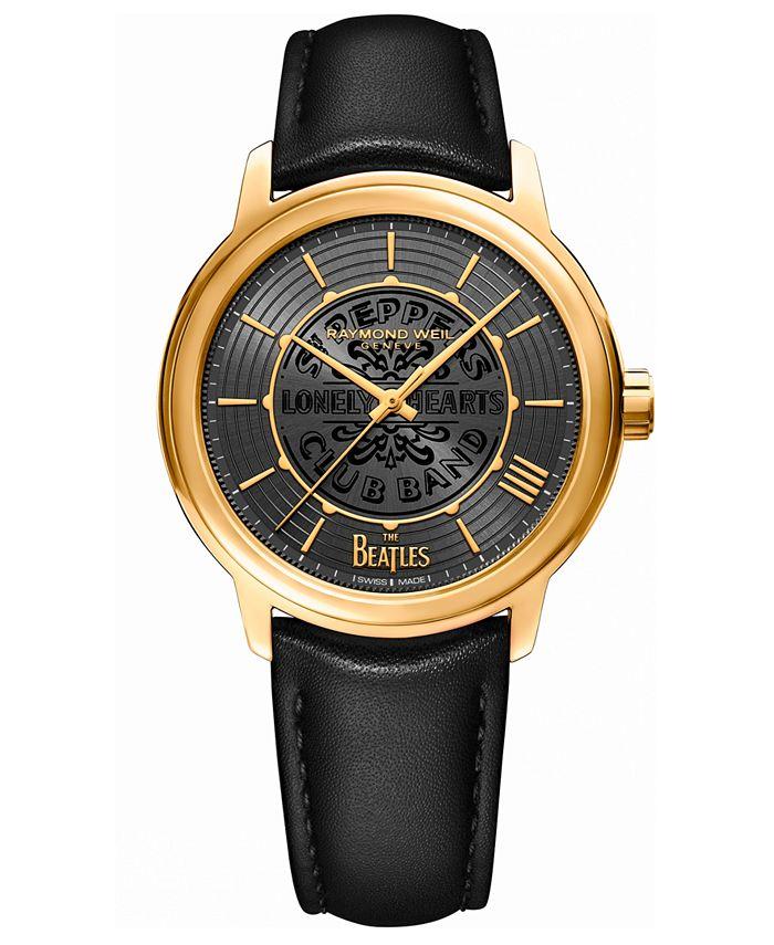 Raymond Weil - Men's Swiss Automatic Maestro Beatles Black Vegan Strap Watch 39.5mm