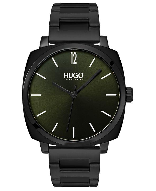 HUGO Men's #Own Black Stainless Steel Bracelet Watch 40mm