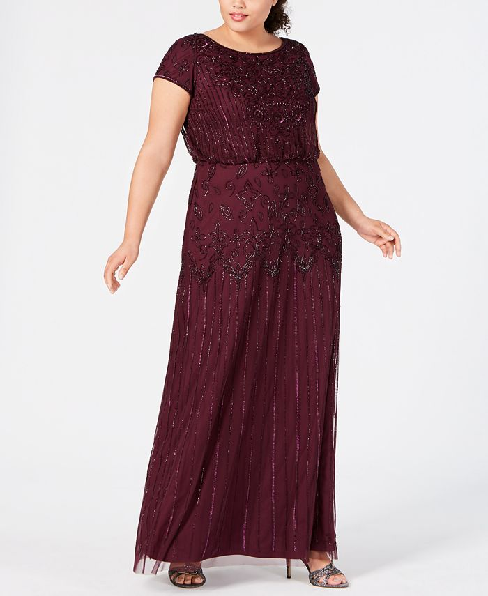 Adrianna Papell - Plus Size Beaded Illusion Blouson Dress