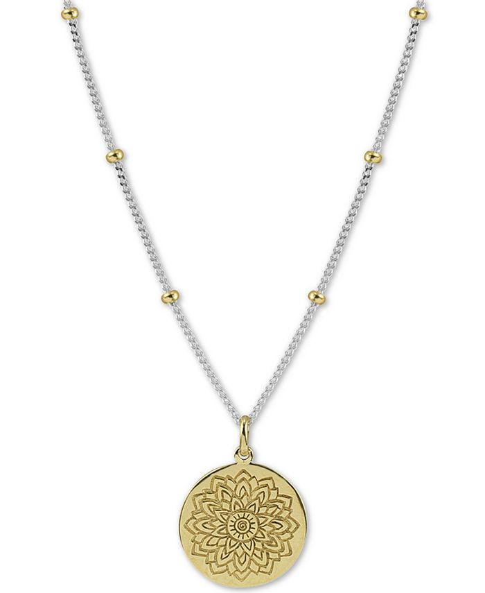 "Argento Vivo - Two-Tone Flower Etched 18"" Pendant Necklace in Sterling Silver & Gold-Plated Sterling Silver"