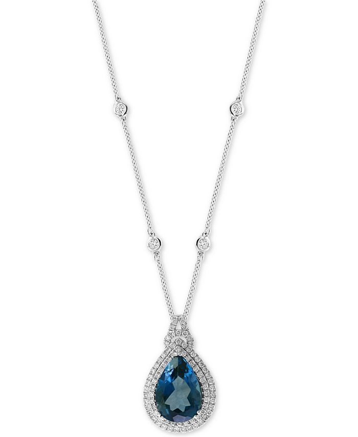 "EFFY Collection - London Blue Topaz (7-7/8 ct. t.w.) & Diamond (7/8 ct. t.w.) 18"" Pendant Necklace in 14k White Gold"