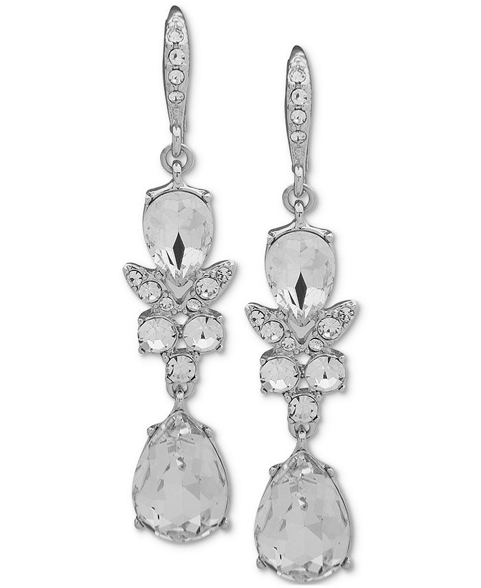 Givenchy - Silver-Tone Crystal Double Drop Earrings