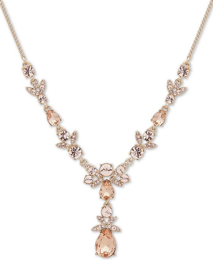 """Givenchy - Gold-Tone Crystal Lariat Necklace, 16"""" + 3"""" extender"""