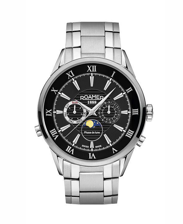 Roamer Men's 3 Hands Moonphase 43 mm Dress Watch in Stainless Steel Case and Bracelet